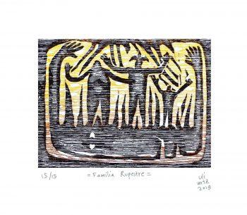 Familia rupestre 2019 Grabado, 30 x 25 cm