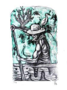 El pescador 2018 Litografía, 50 x 40 cm