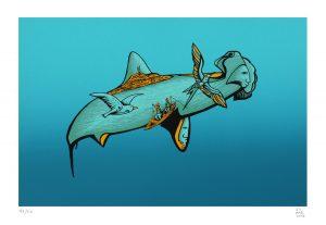 El tiburón martillo 2018 Serigrafía, 46 x 32.5 cm